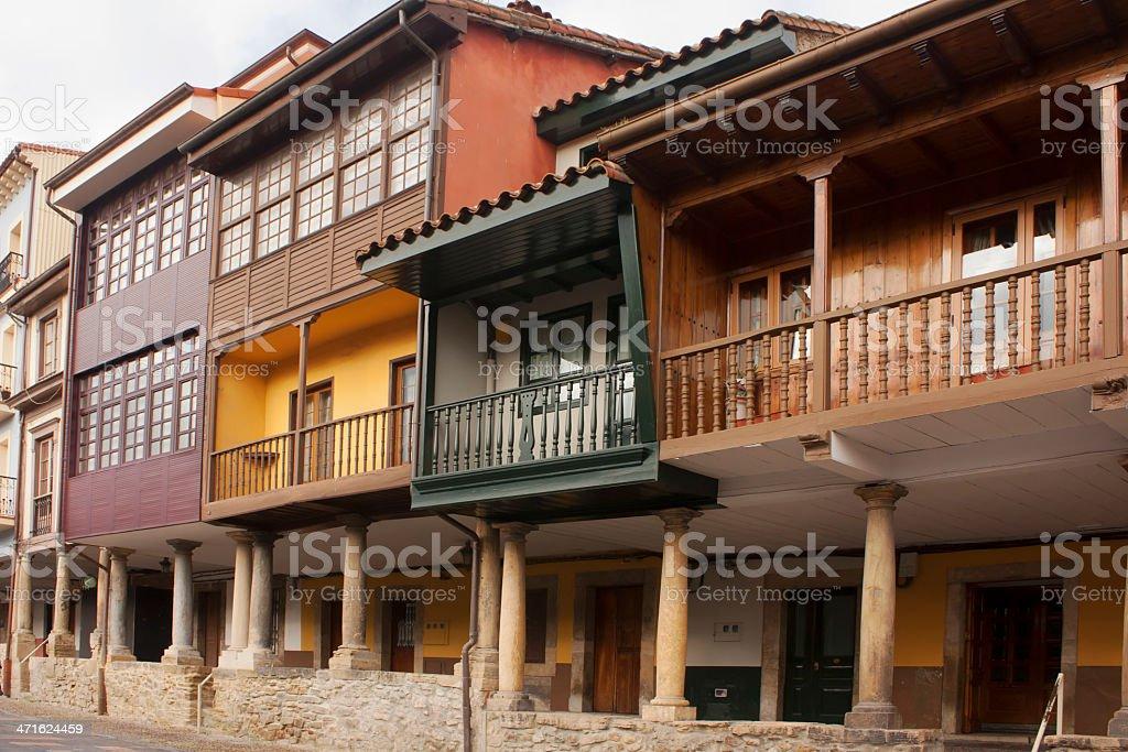 Traditional buildings , Avil?s, Spain. stock photo