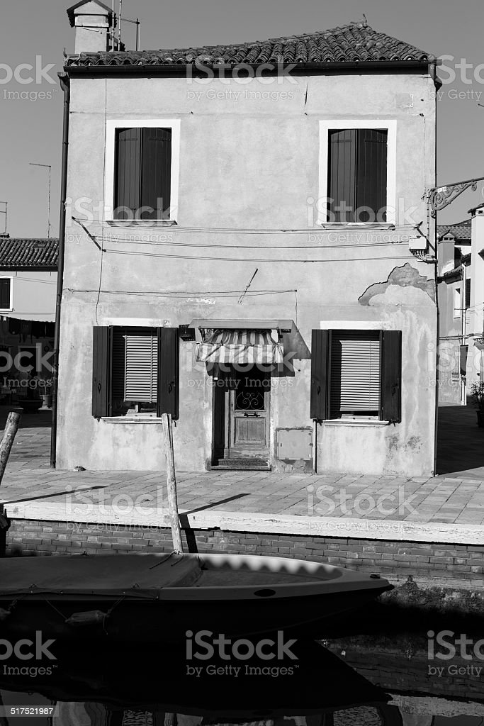 Traditional Buildings in Burano, Venice. Black and White stock photo