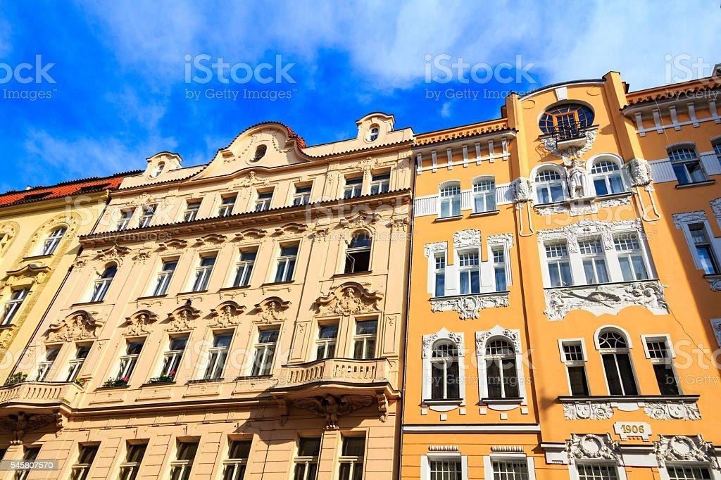 Traditional buildings in Jewish Quarter, Czech Republic, Prague stock photo