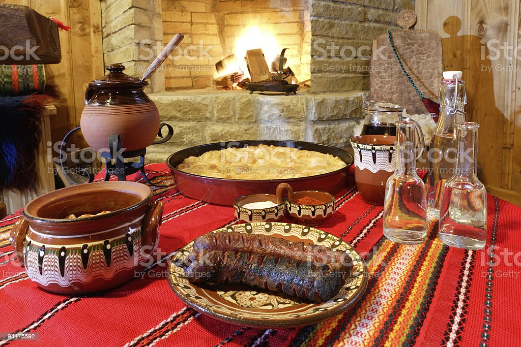 Traditional Bulagrian food on table royalty-free stock photo