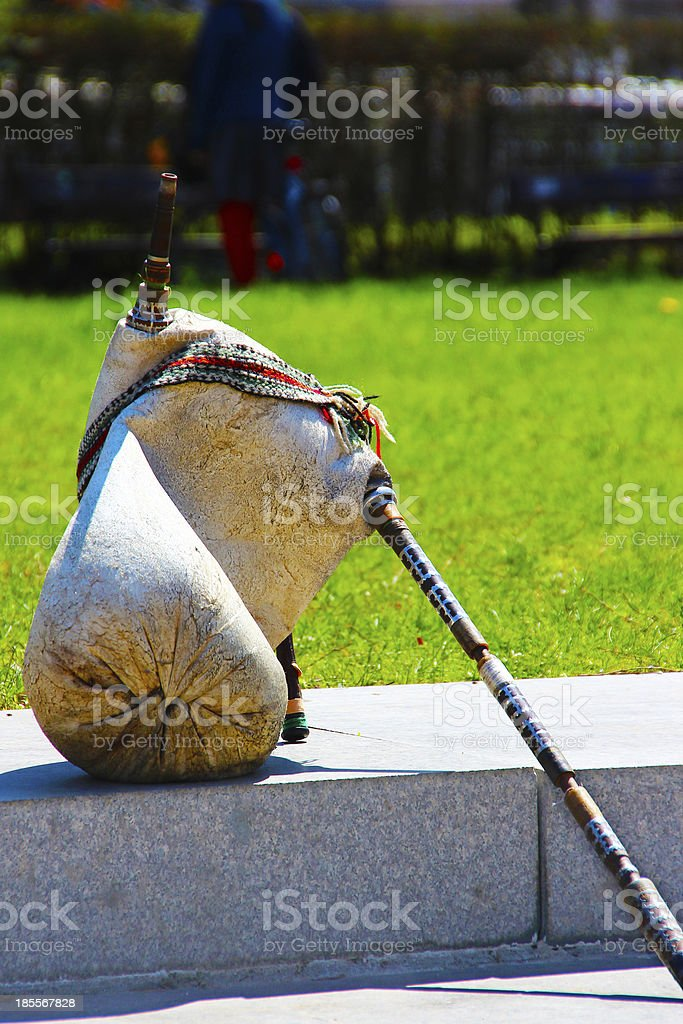 Traditional Bulgarian bagpipes royalty-free stock photo