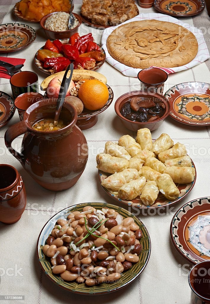 Traditional Bulgarian Christmas food royalty-free stock photo