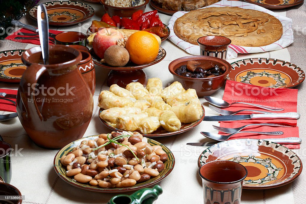 Traditional Bulgarian Christmas food royalty-free stock photo