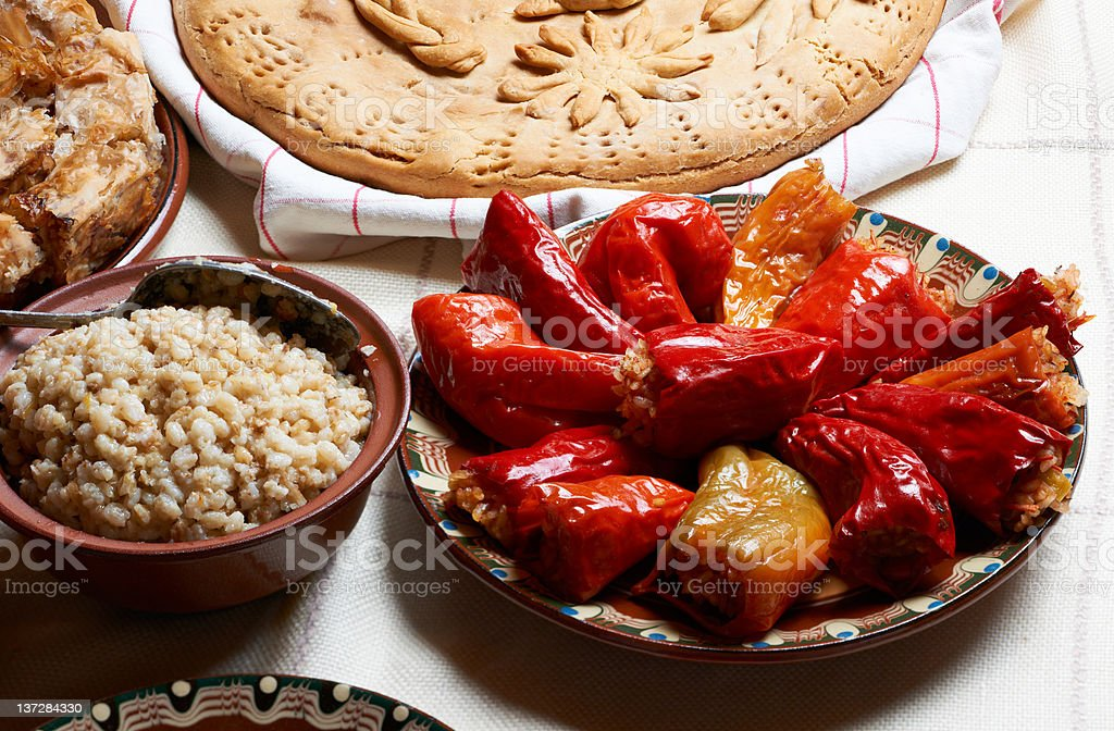 Traditional Bulgarian stiffed peppers stock photo