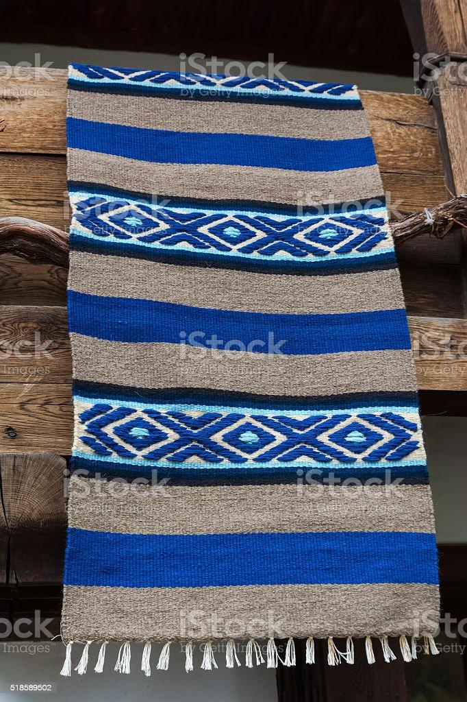 Traditional Bulgarian woven rug, Etara village, Bulgaria stock photo