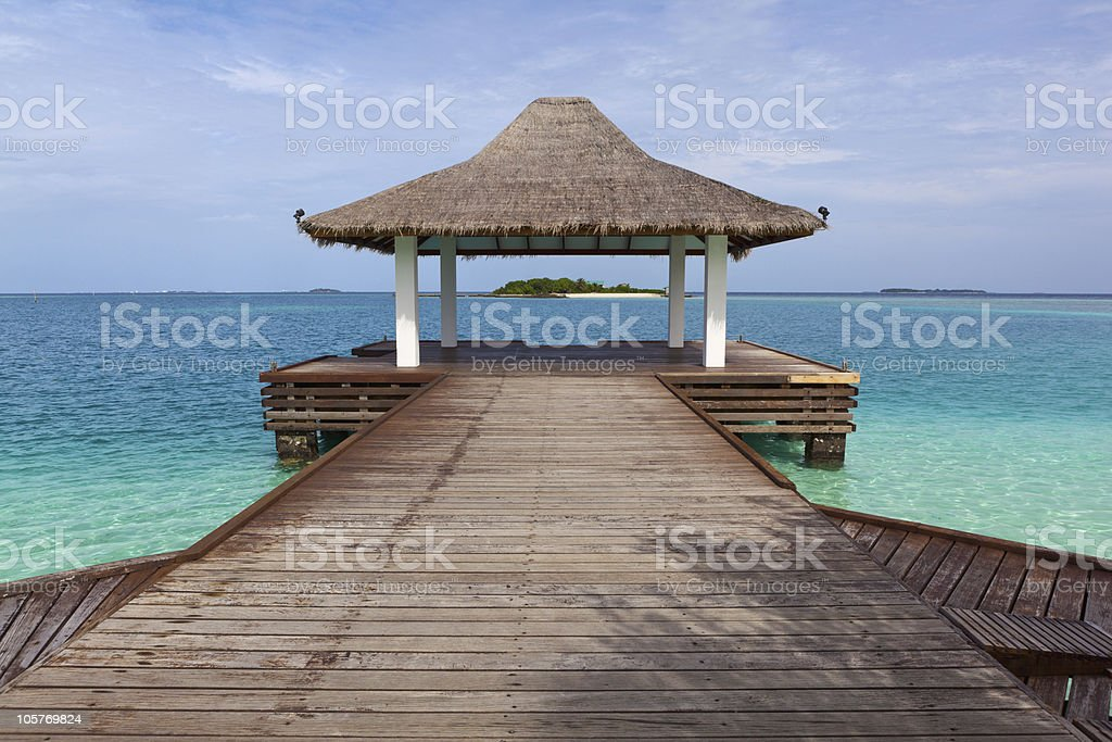 Traditional Bungalow in the Ocean. Welcome to Paradise! royalty-free stock photo