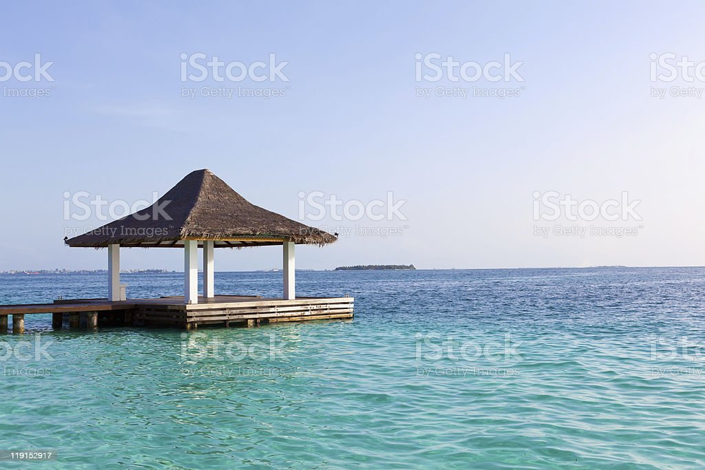 Traditional Bungalow in the Ocean. Welcome to Paradise! stock photo