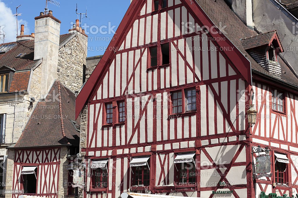 Traditional Burgundy half-timbered building royalty-free stock photo