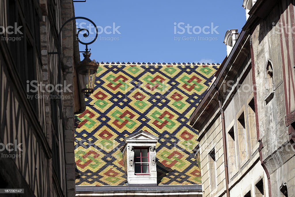Traditional Burgundy roof tiles royalty-free stock photo