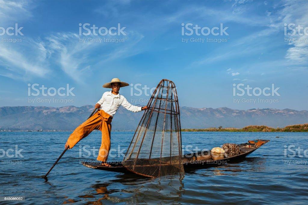 Traditional Burmese fisherman at Inle lake, Myanmar stock photo