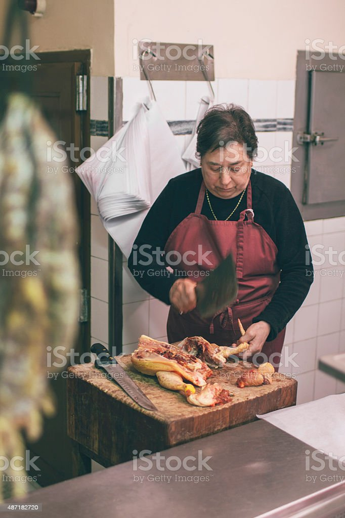 Traditional butcher shop stock photo