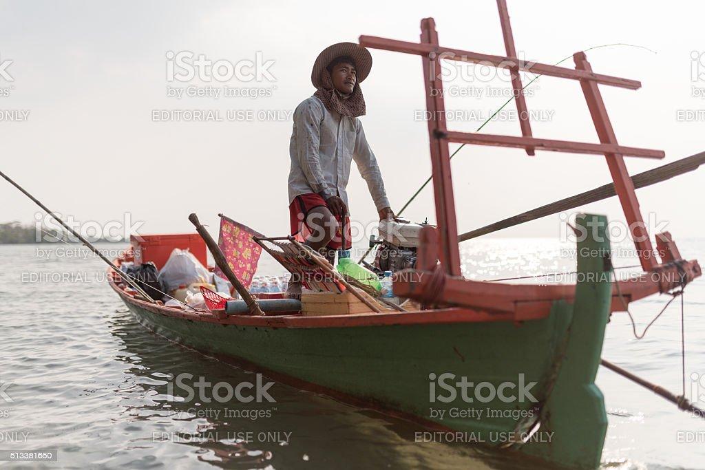 Traditional Cambodian fisherman stock photo