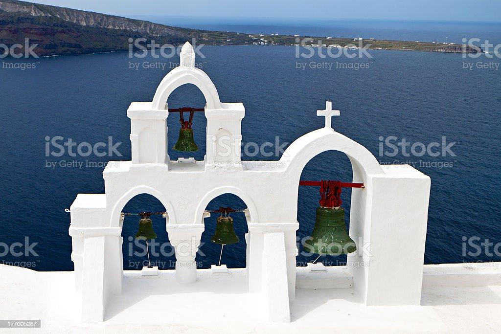 Traditional campanile at Santorini, Greece stock photo