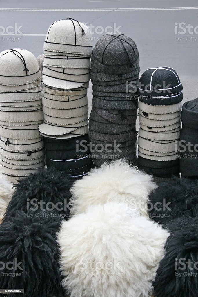 Traditional caps stock photo