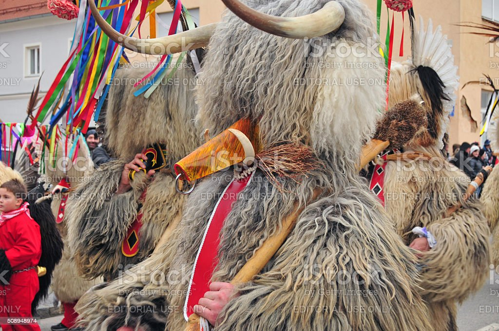 Traditional carnival with traditional figures, known as kurent, Ptuj, Slovenia stock photo
