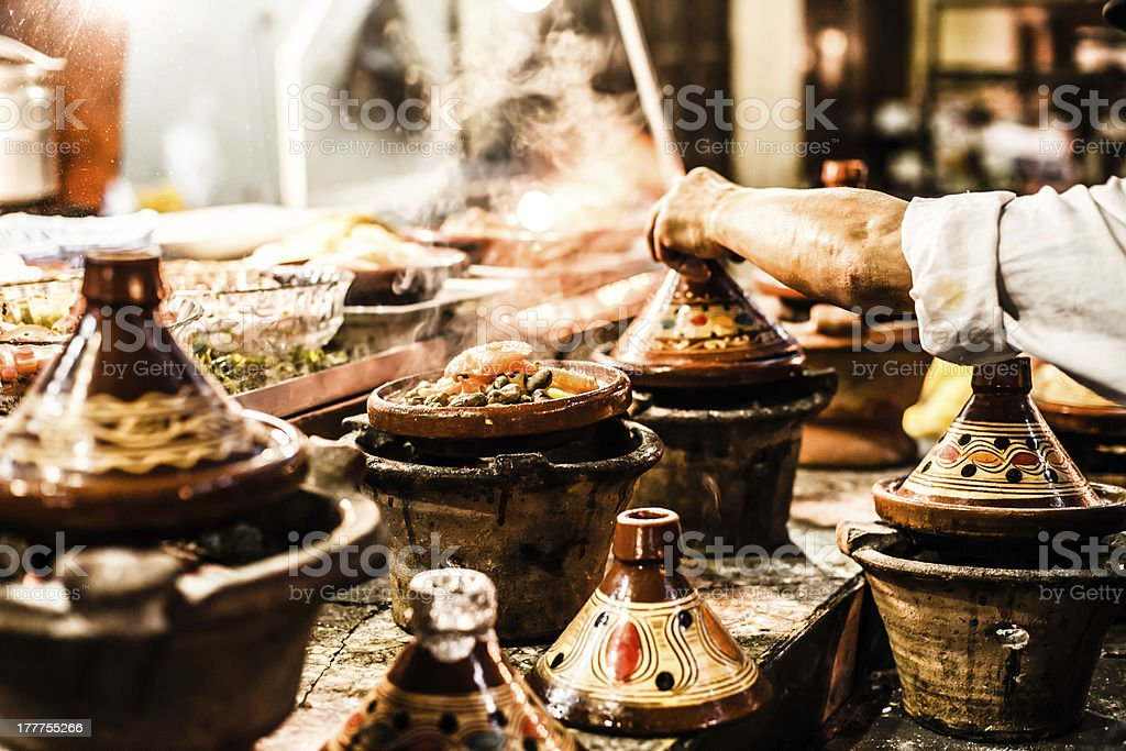 Traditional casserole dishes from Morocco stock photo