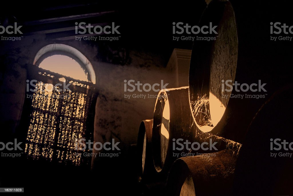 traditional cellar at sunset royalty-free stock photo
