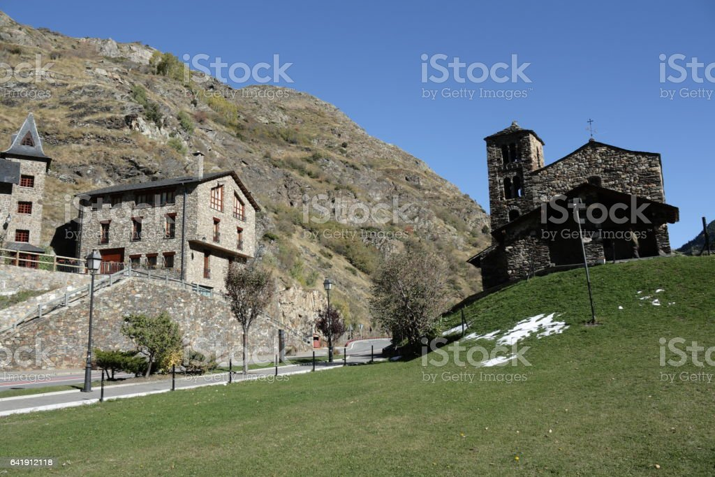 Traditional chapel in Andorra stock photo