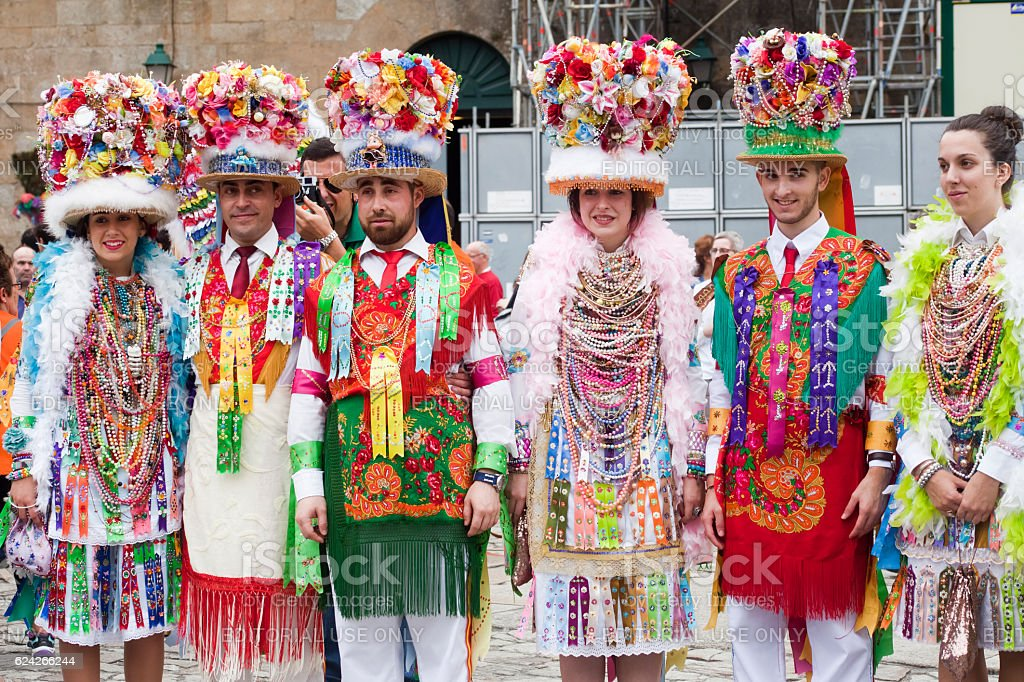 Traditional characters of 'Cobres-Vilaboa' Carnival, Galicia, Spain stock photo