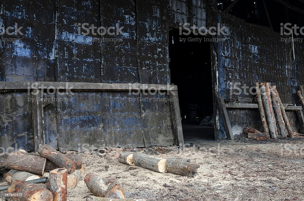 Traditional Charcoal factory, Sepetang, Malaysia stock photo