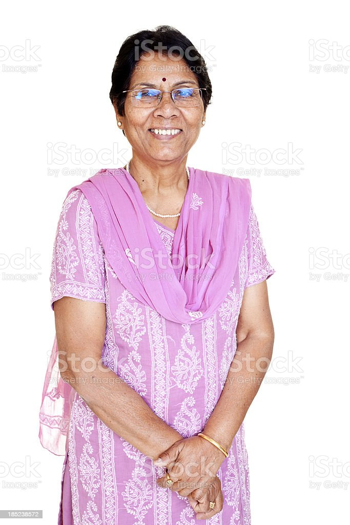Traditional Cheerful Senior Indian Woman Isolated on White stock photo