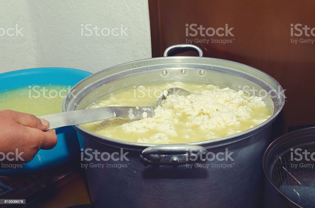 Traditional cheese making in Lepushe Albania stock photo