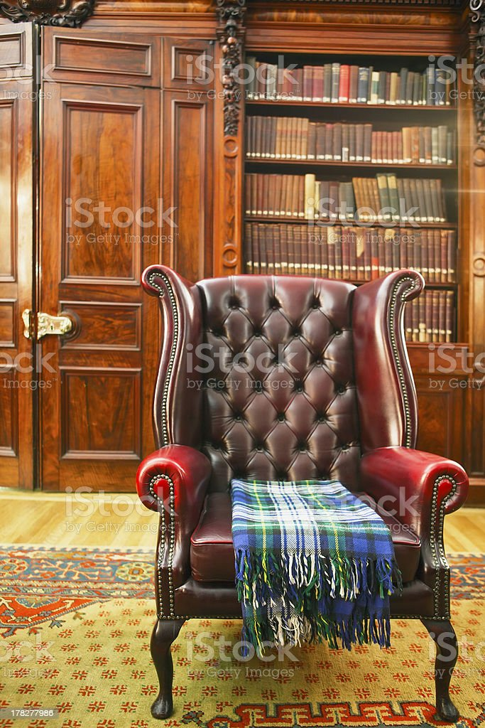 Traditional Chesterfield armchair stock photo
