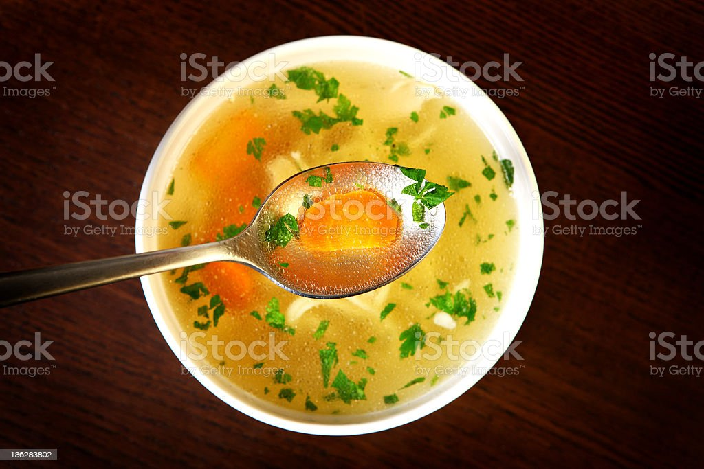 Traditional chicken soup stock photo