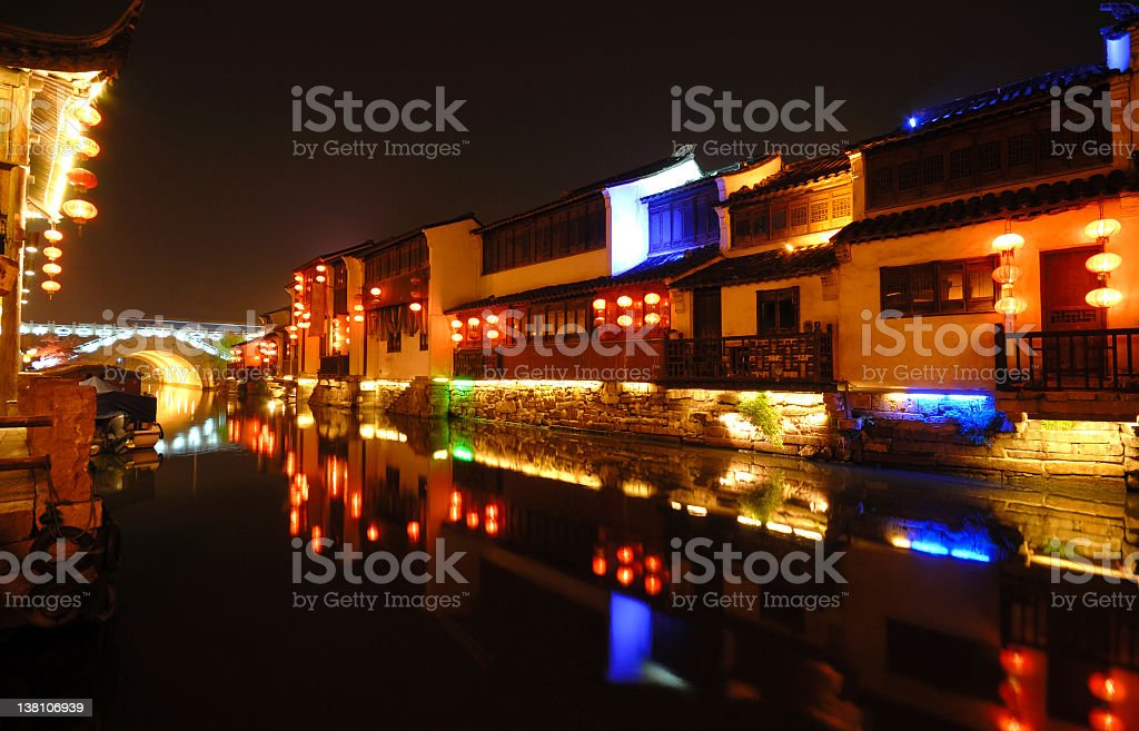 Traditional China at Night. royalty-free stock photo