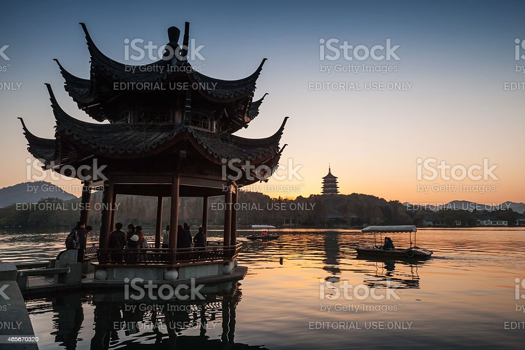 Traditional Chinese ancient pavilion on the West Lake stock photo