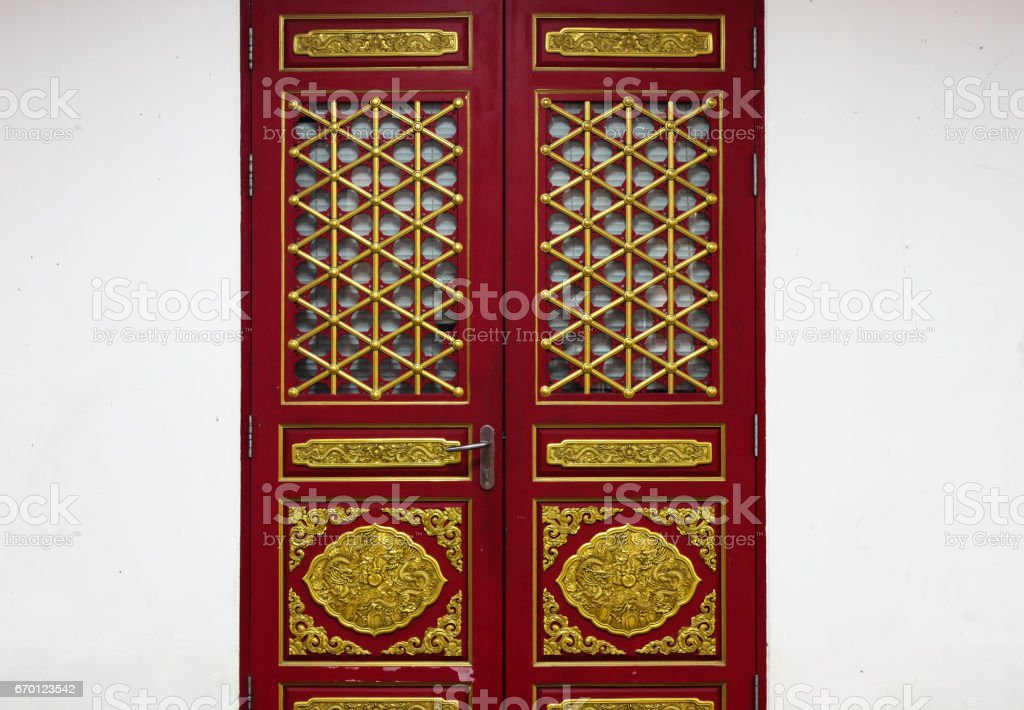 Traditional Chinese and Japanese window and door pattern stock photo