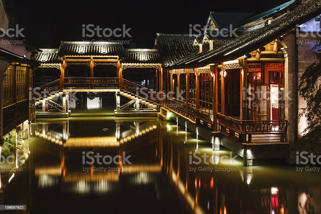 traditional Chinese architecture at night stock photo