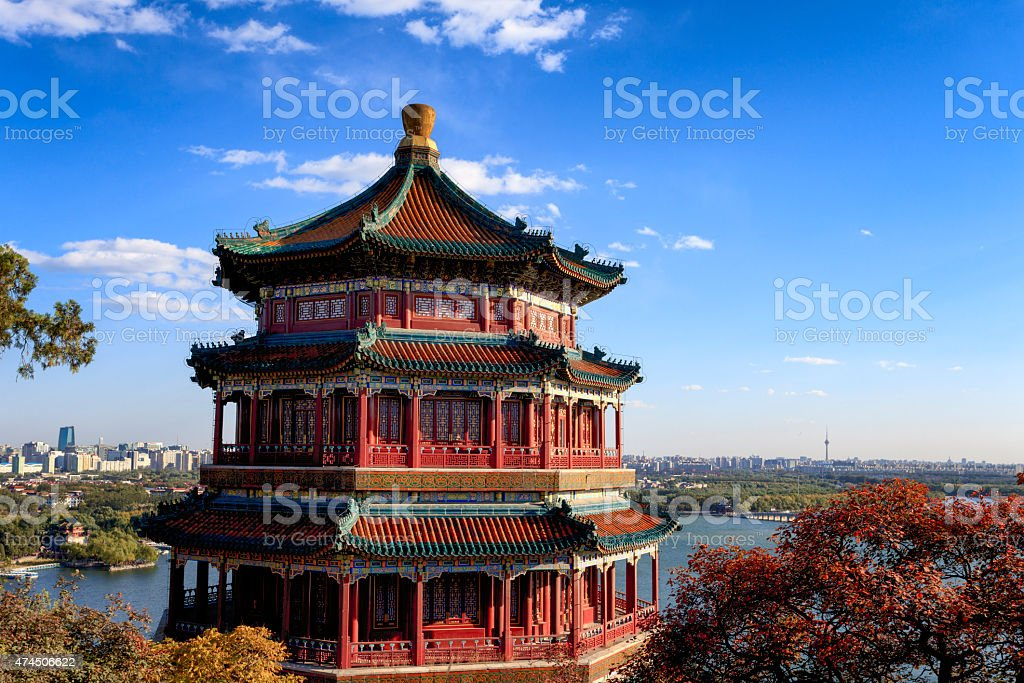 Traditional Chinese Architecture: Summer Palace and Beijing Skyline stock photo