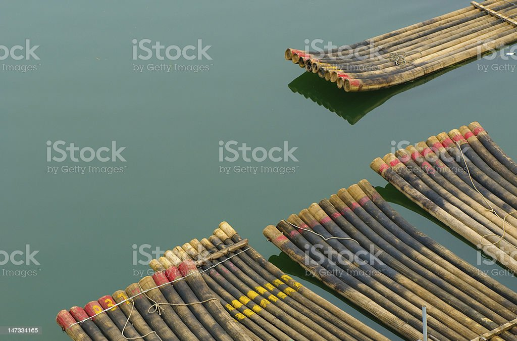 traditional chinese bamboo rafts royalty-free stock photo