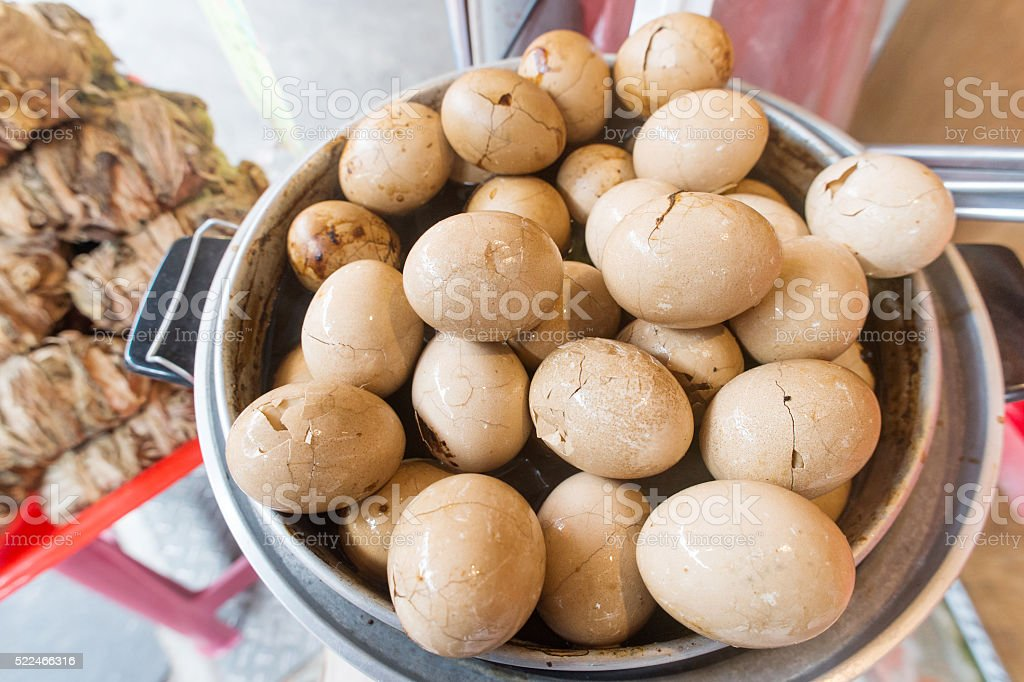 traditional chinese boiled eggs in tea leaves stock photo