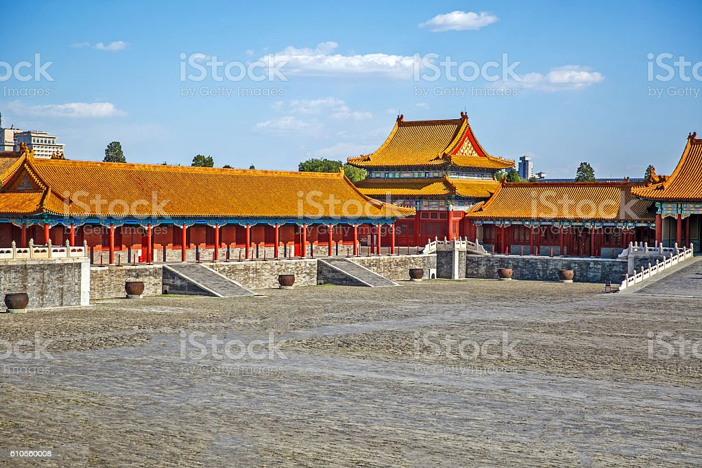 Traditional Chinese Building, Forbidden City in Beijing, clean sunny day stock photo