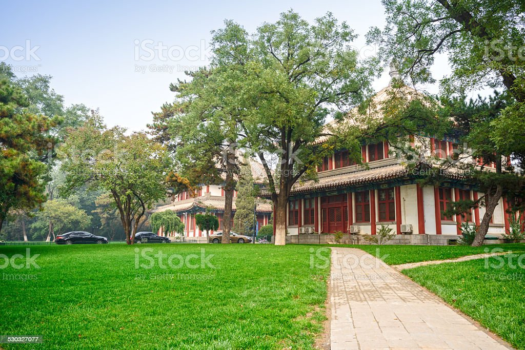 Traditional Chinese buildings in campus stock photo
