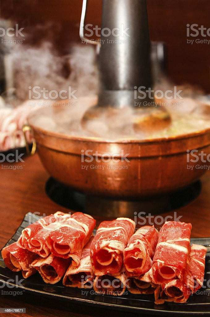 Traditional Chinese Coal-Style Hot Pot stock photo
