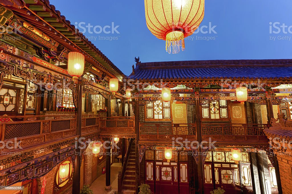 Traditional Chinese courtyard in Pingyao, China royalty-free stock photo