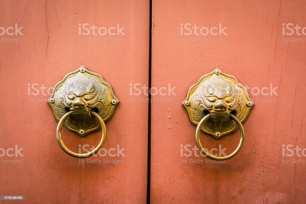 Traditional Chinese Door knocker stock photo