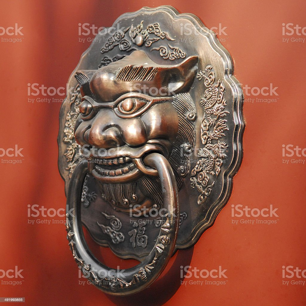 traditional Chinese doorknob stock photo