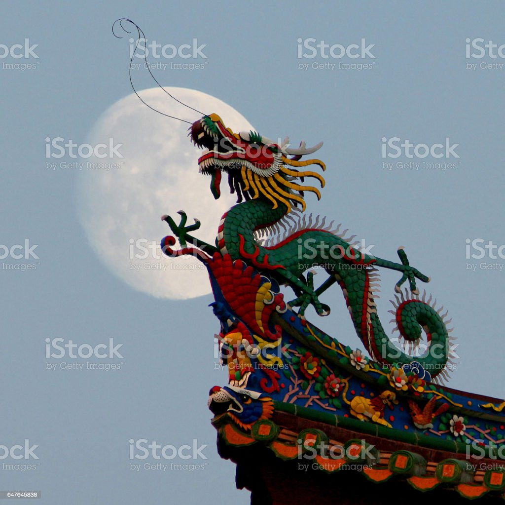 Traditional chinese dragon on a background of  the full moon stock photo