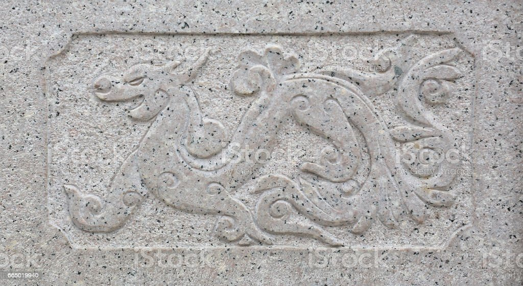 Traditional chinese dragon stone carved stock photo