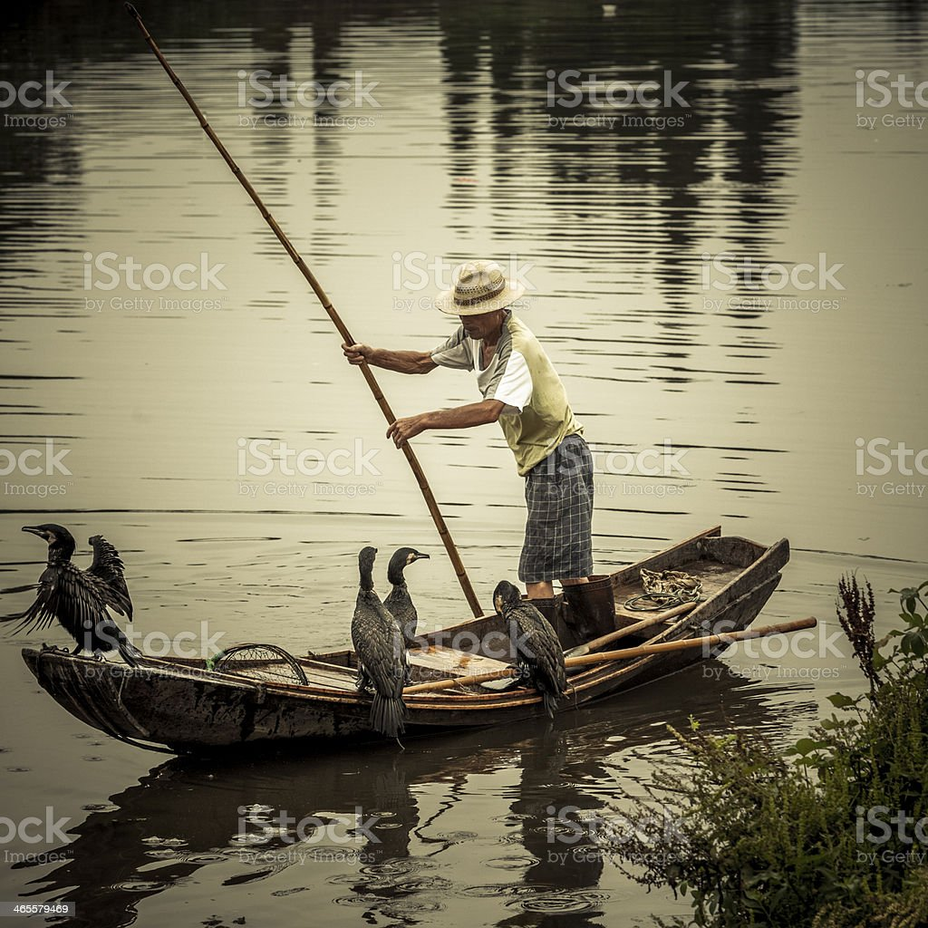 Traditional Chinese Fisherman on River royalty-free stock photo