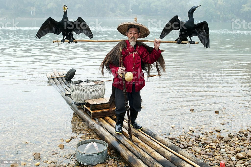 Traditional Chinese Fisherman stock photo