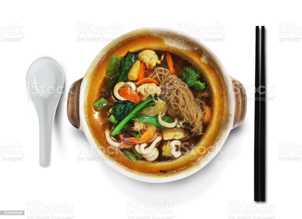 Traditional Chinese food on white background stock photo
