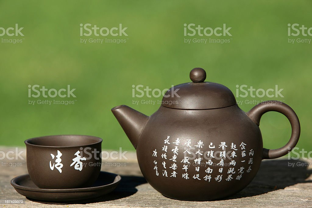 Traditional Chinese Green Tea Teapot royalty-free stock photo
