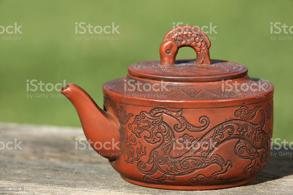 Traditional Chinese Green Teapot royalty-free stock photo