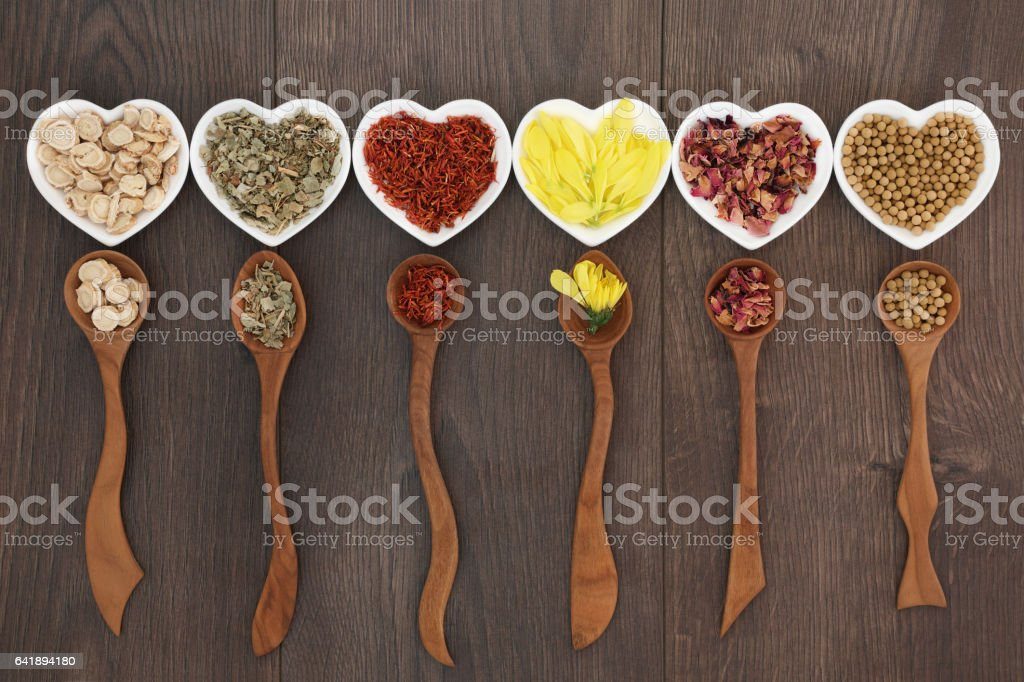 Traditional Chinese Herb Tea Selection stock photo