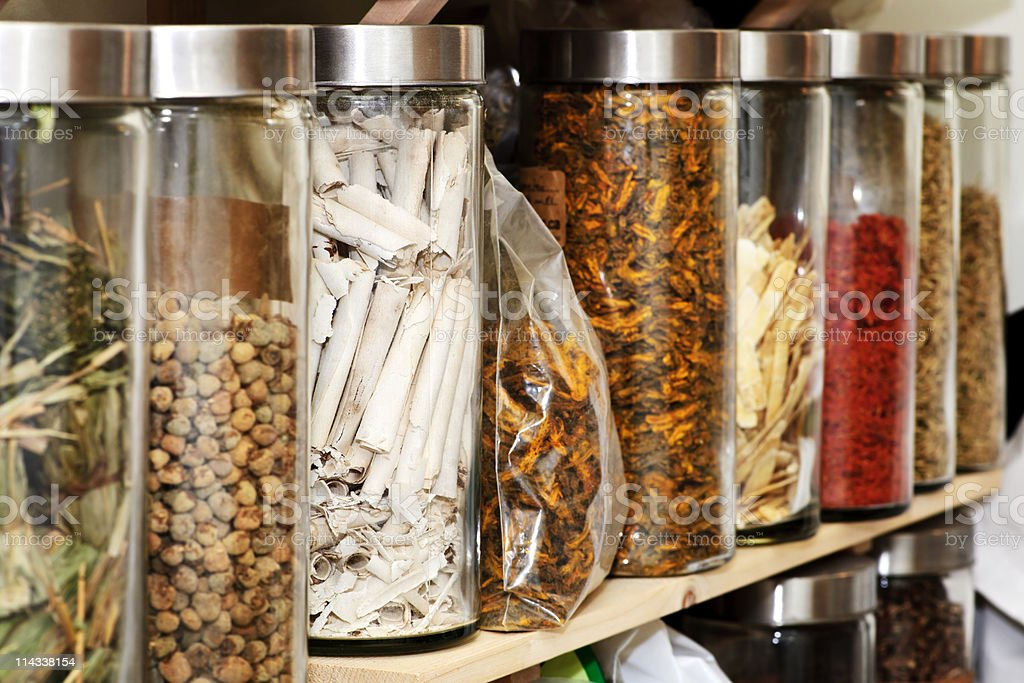 Traditional Chinese herbal medicines stock photo